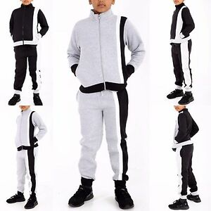 Unisex Boys Girls Swag STRIPPED Contrast Full Tracksuit Zipper Bottoms 7-13 Year