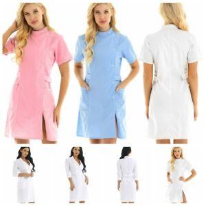 Womens-Lab-Coats-Uniform-Dress-Cosplay-Hospital-Nurse-Doctor-Scrub-Coat-Workwear