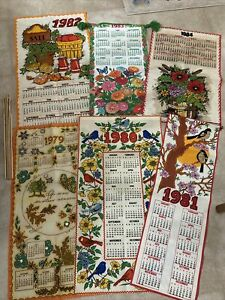 Vintage-LOT-OF-6-Cloth-Fabric-Calendars-Nature-Food-Design-1979-through-1984-EUC