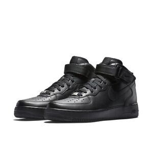 Nike-Air-Force-1-one-Mid-315123-001-Black-Leather-Classic-Casual-Men