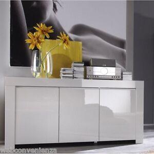 Mobile-moderno-Buffet-Credenza-Laccato-Lucido-Bianco-Madia-3-ante-modello-Amalfi