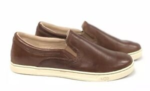 Ugg-Australia-Fierce-Leather-Slip-On-Sneakers-Chestnut-Loafers-Shoes-1015460