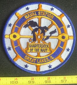 US NAVY BASE NAVAL STATION GREAT LAKES IL QUARTERDECK OF THE NAVY IRON ON PATCH