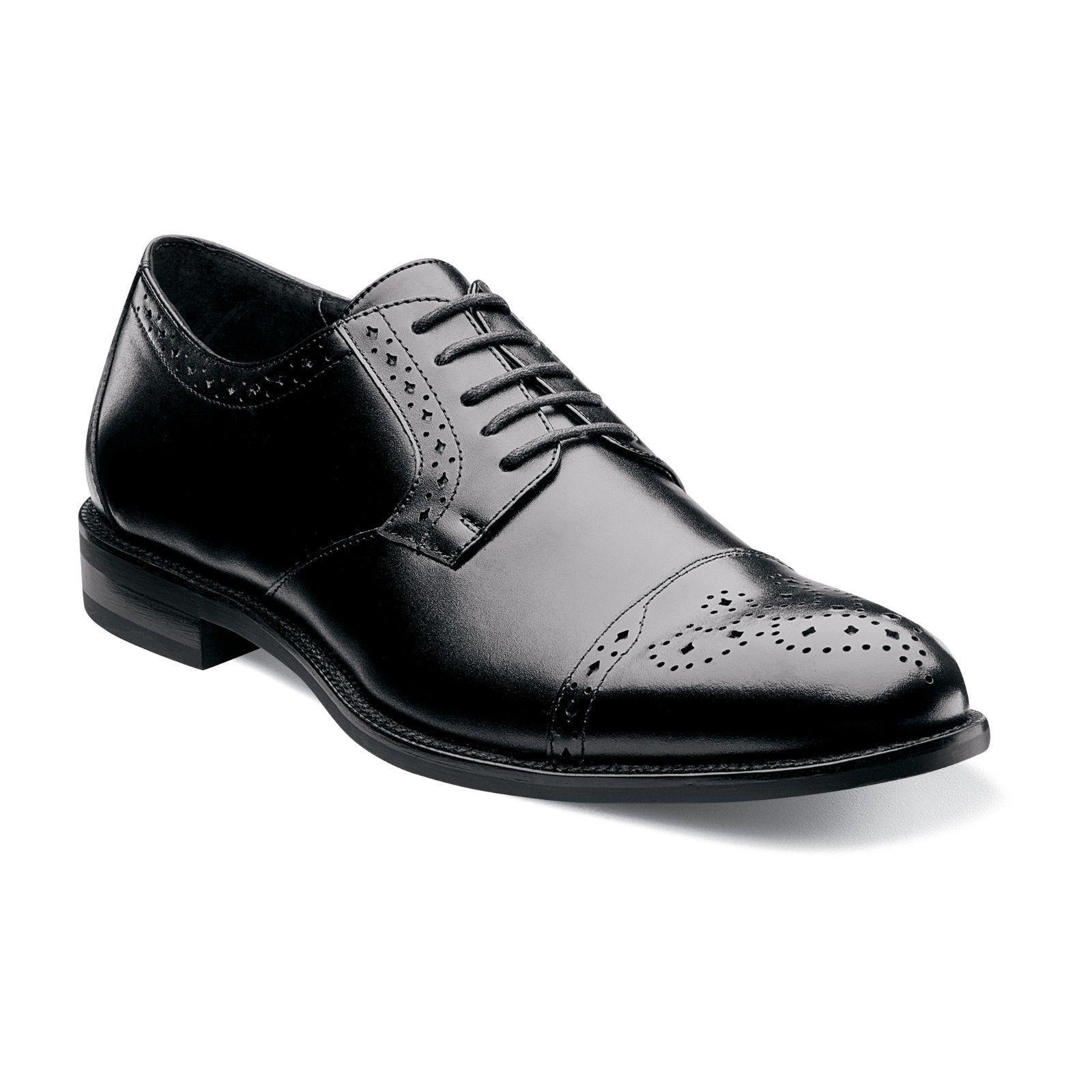 Stacy Adams Para Hombre Negro Granville de cuero de la puntera Oxford De Encaje Moda Zapato de vestido