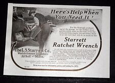 1914 OLD MAGAZINE PRINT AD, STARRETT RATCHET WRENCH, FOR HELP WHEN YOU NEED IT!