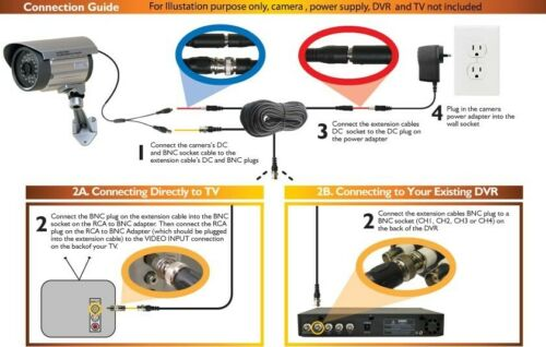 3x100ft HD Security Camera BNC Video Power Cable CCTV Wire Surveillance Cord 1qb