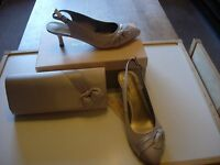 Jacques Vert Shoes And Matching Clutch Bag -silver Grey Size 5 -new