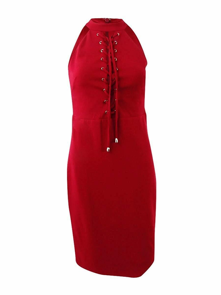 Guess Damen Schnür-front Bodycon Kleid Rot, 14, 2705-3