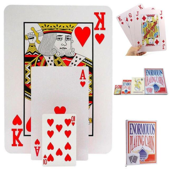 """JUMBO PLAYING CARDS 5/"""" X 3.5/"""" LARGE SIZE PLASTIC COATED BIG DECK FAMILY PLAY"""