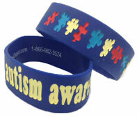 Adult Youth Sz Autism Awareness Thick 1 Puzzle Wristband Silicone Bracelet Wide