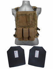 AR500 Steel Body Armor Wildcat Carrier Vest + Level III Plates   Coyote Brown