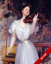 WOMAN IN WHITE GOWN DRESS W VIOLIN & PIANO OIL PAINTING ART PRINT ON REAL CANVAS