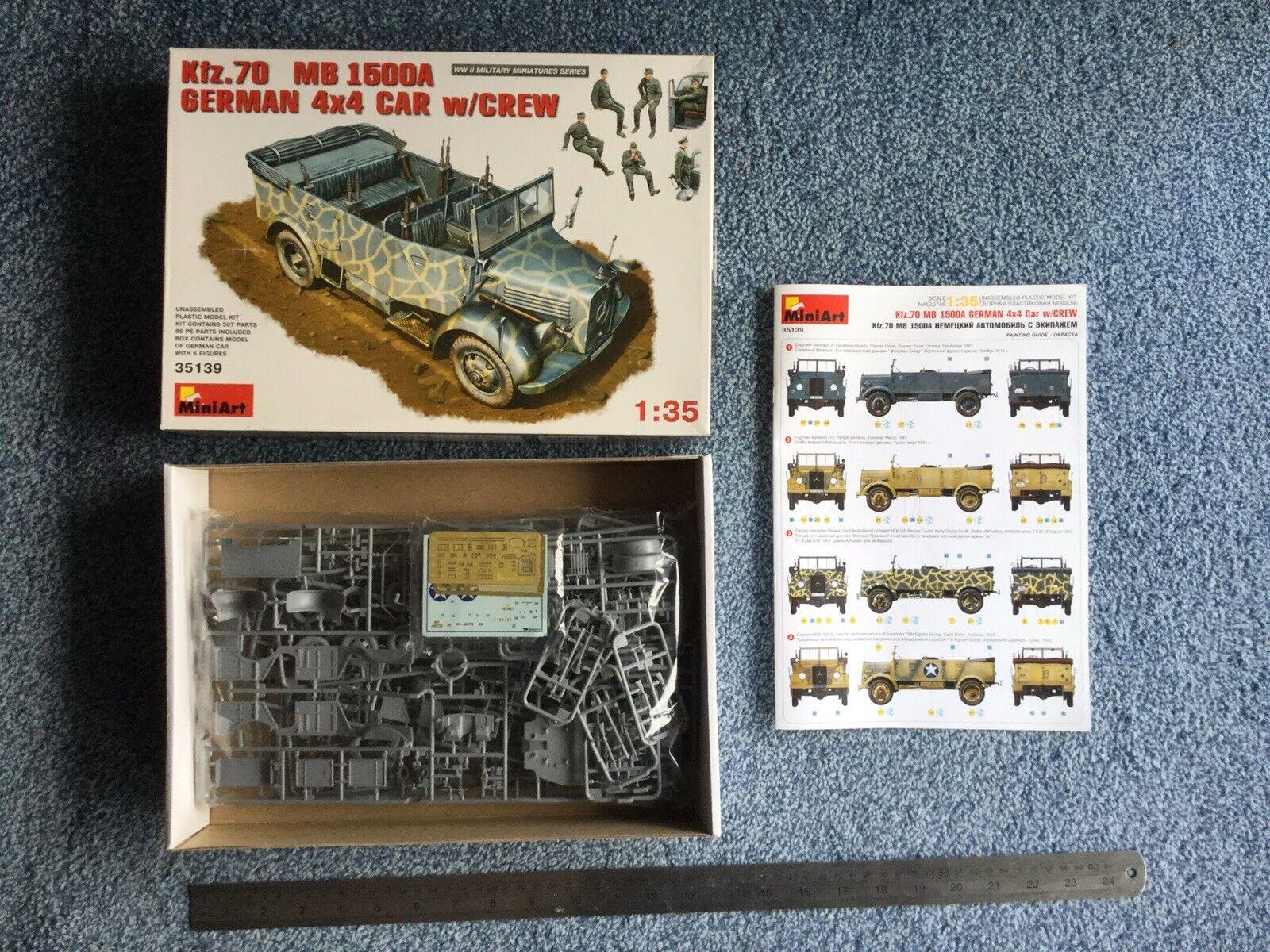 Minikonst 1 35 Kfz.70 (MB 1500A) Tyska 4x4 Bil w   Crew kit