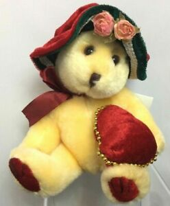 C2-Tag-Alongs-PBC-Victorian-Bear-with-Heart-Hat-with-Roses-Plush-Collectors-New