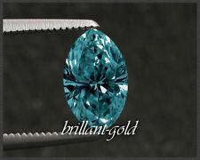 Traumhafte Diamant-Navette: 0,44ct / int. dunkelblau / Si3- / 6,71x3,95x2,60 mm!