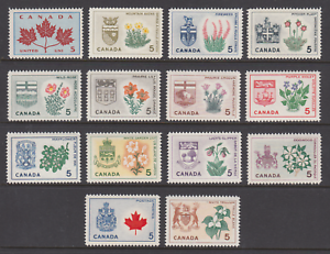 Canada-Sc-417-429A-MNH-1964-66-Flowers-and-Arms-of-the-Provinces-cplt-set-VF