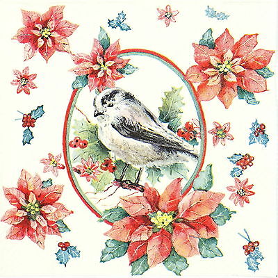4x Paper Napkins for Decoupage Decopatch Craft Winter Bird