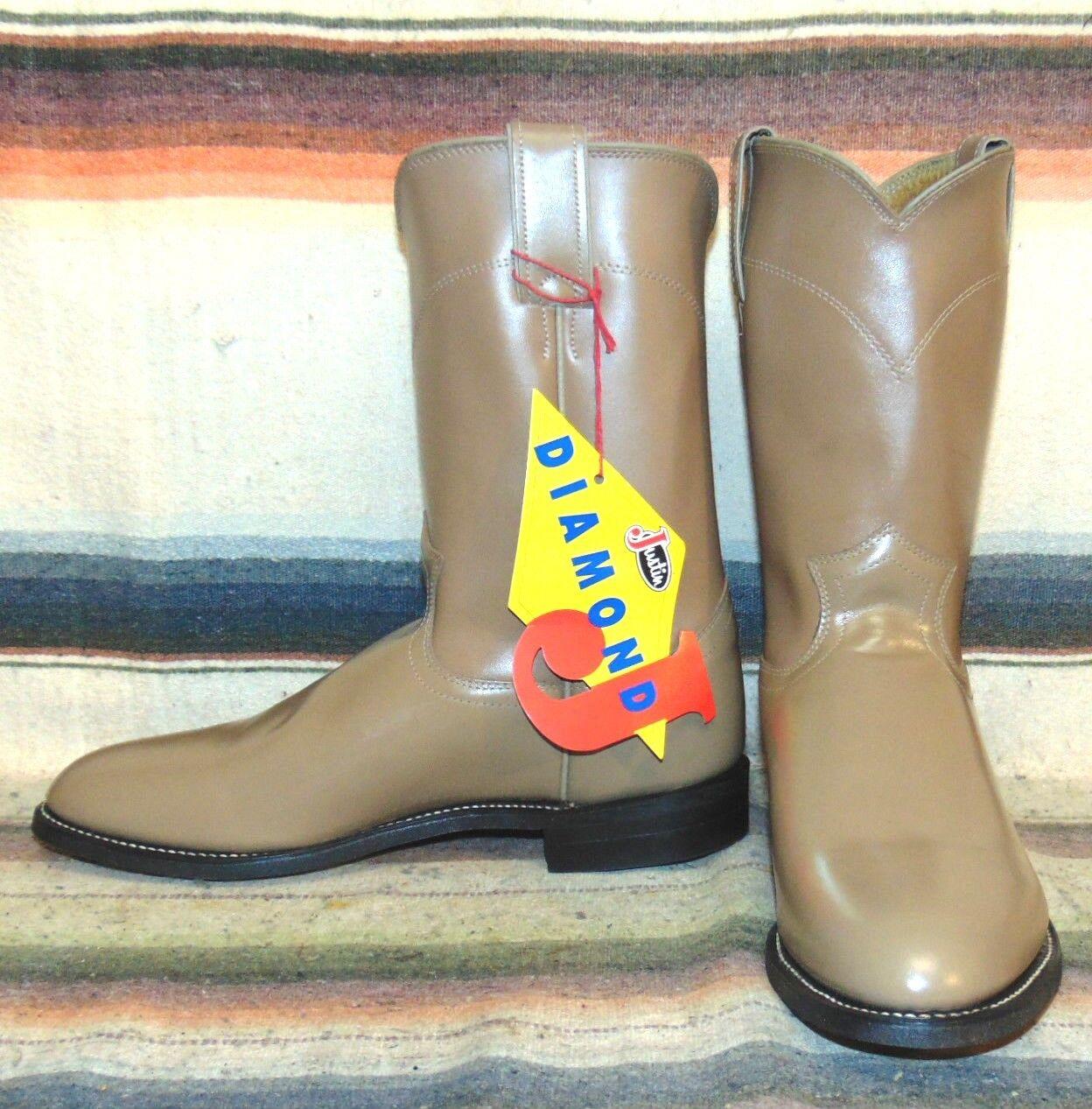 Vintage Justin Diamond J braun Leather Roper Cowboy Stiefel Mens 7  damen 8.5 NEW