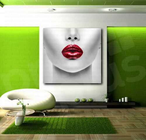 Red Lips Face Modern White and Red Stylish Canvas Art Poster Print Wall Decor