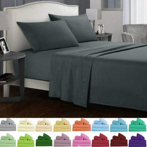 Soft Bed Sheets Set 3//4 Piece Deep Pocket Fitted Flat Queen King Full Twin Size