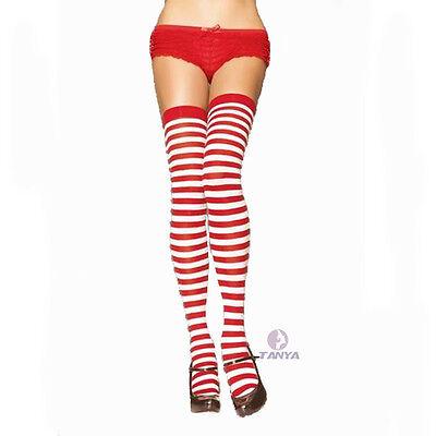 Fashion Women's RAINBOW Stripe Over Knee Thigh High Stocking Socks