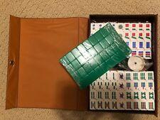Mini mah-jong set Green & White 144 tiles Travel pack with Portable Mahjong Box