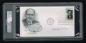Harold-Wilson-signed-autograph-UK-Prime-Minister-FDC-First-Day-Cover-PSA-Slabbed