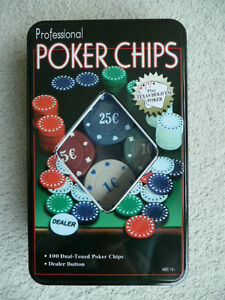 Professional-Poker-Chips-Spiel-100-Chips-Dealer-Button-Neu-und-OVP