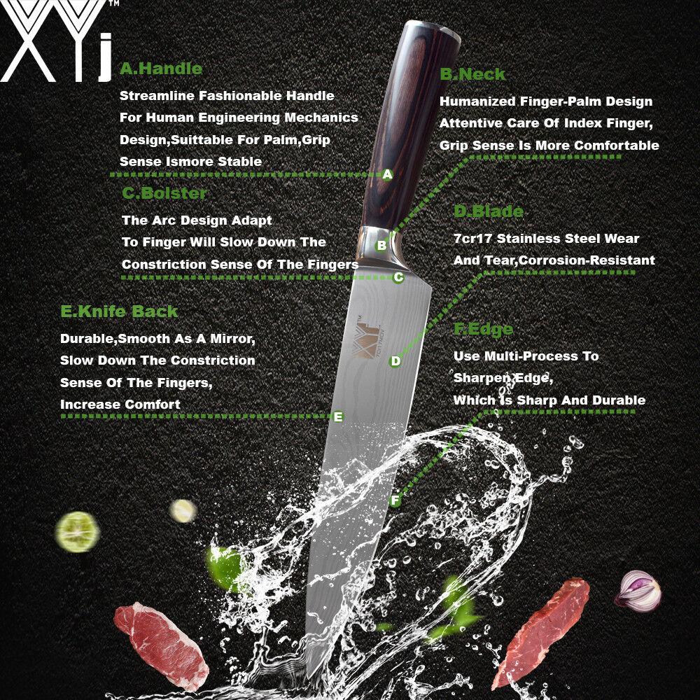 Knife Set Stainless Steel 5Pcs 5Pcs 5Pcs Damascus Pattern Chef Santoku Utility Kitchen Cut 7b2252