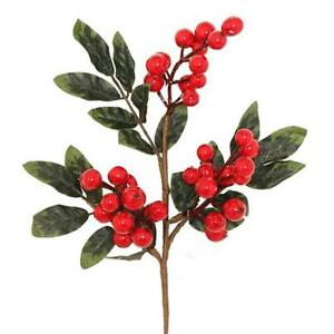Christmas Leaves.Details About Artificial Red Berry Spray With Green Leaves Christmas Decorations Foliage
