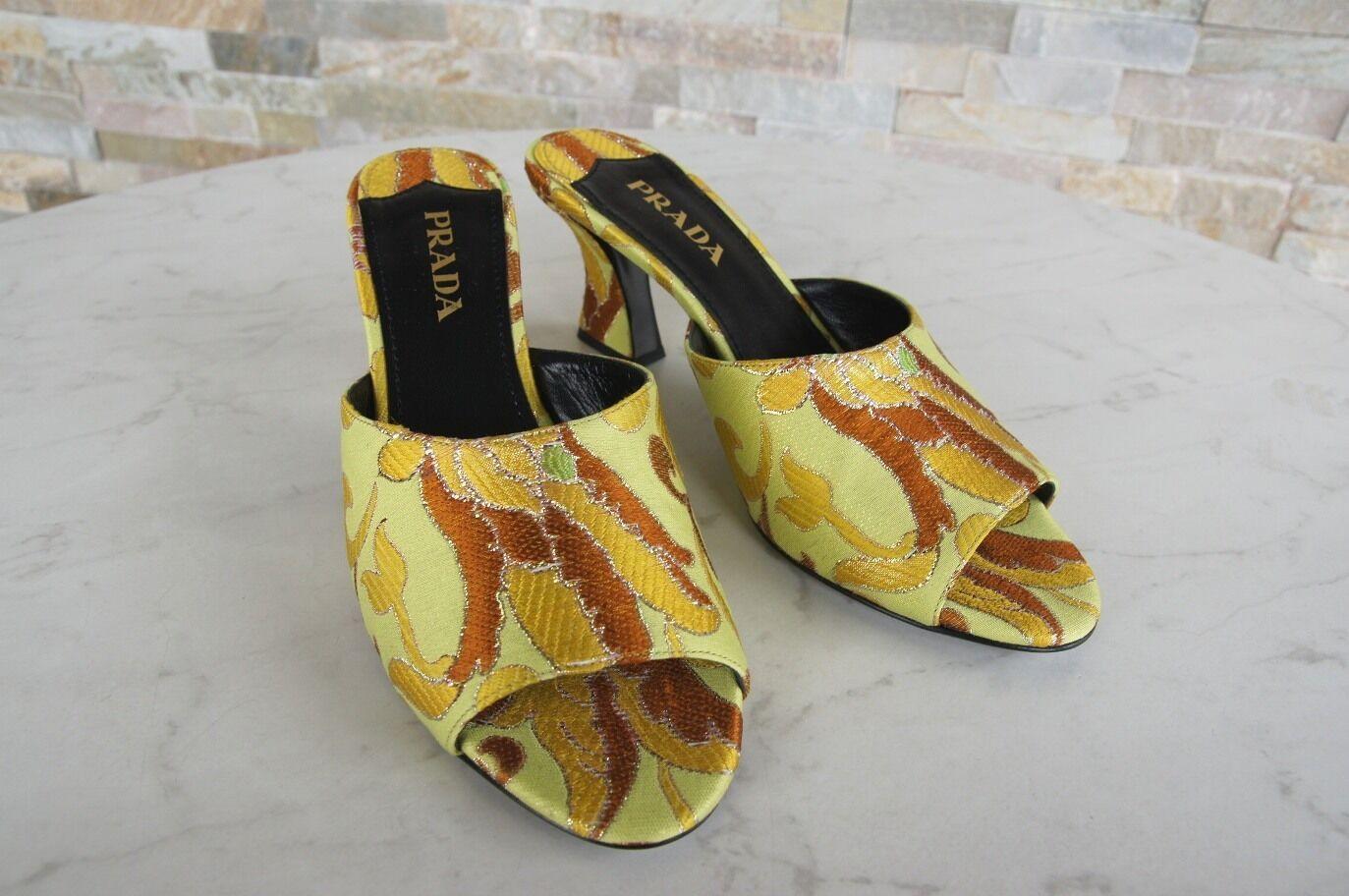 PRADA Gr 37 Pantoletten Pantoletten Pantoletten Sandaletten Sandalen Schuhe Lime Limone NEU 25168a