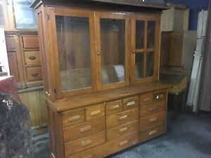 Circa 1910 20 Antique Oak Stepback Cupboard School Science