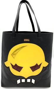 Stella-McCartney-Super-Hero-Black-Yellow-Faux-Leather-Tote-Shopper-Bag