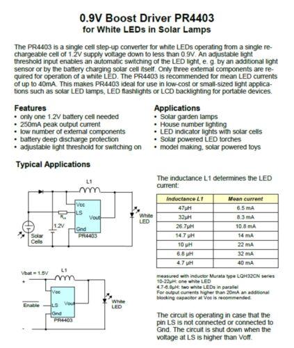 250ma.. 2x LED Driver//controlador prema pr4403 /> 0.9v max
