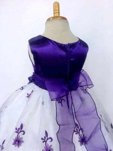 Purple Christmas Embroidery Floral Holiday Wedding Flower Girl Dress Fall 2 6 4