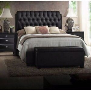 Image Is Loading King Size Platform Beds Upholstered Leather Black Headboard