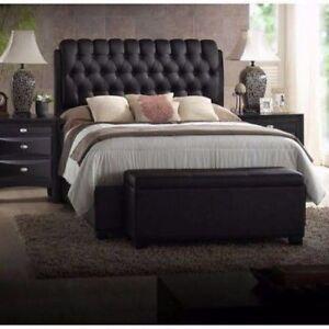 Image Is Loading King Size Platform Beds Upholstered Leather Black Headboard
