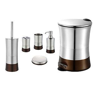 Brown 6 piece bathroom accessory set stainless steel for Teal bathroom bin