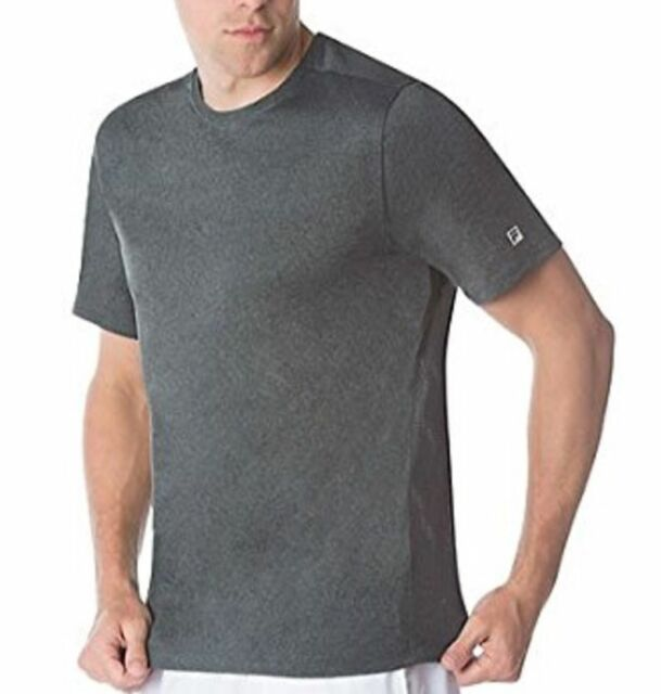 5b7879dc7dc3 Fila Mens Wicking Stretch Performance Shirt Crew Short Sleeve Running  Active Tee Gray XL