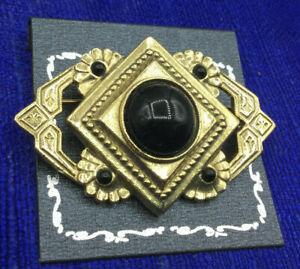 1928-Pin-Black-Plastic-Stone-Cast-Goldtone-Victorian-Inspired-Brooch