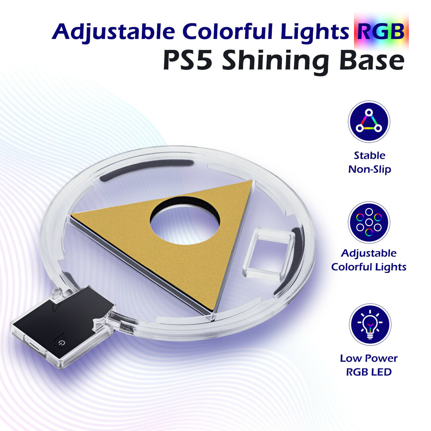 Honcam Adjustable RGB Base Game Stand for PlayStation 5 PS5 Console