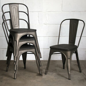 Image Is Loading Set Of 4 Gun Metal Grey Industrial Dining