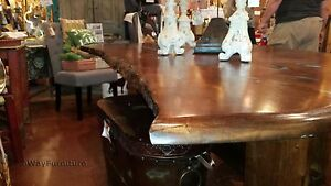 Handmade Mesquite Dining Room Table With Turquoise Inlay Accents One Of A Kin