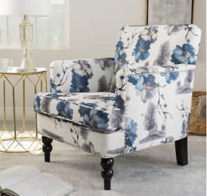 Details about Floral Upholstered Armchair Accent Chair Flower Print Living  Room Bedroom Fabric