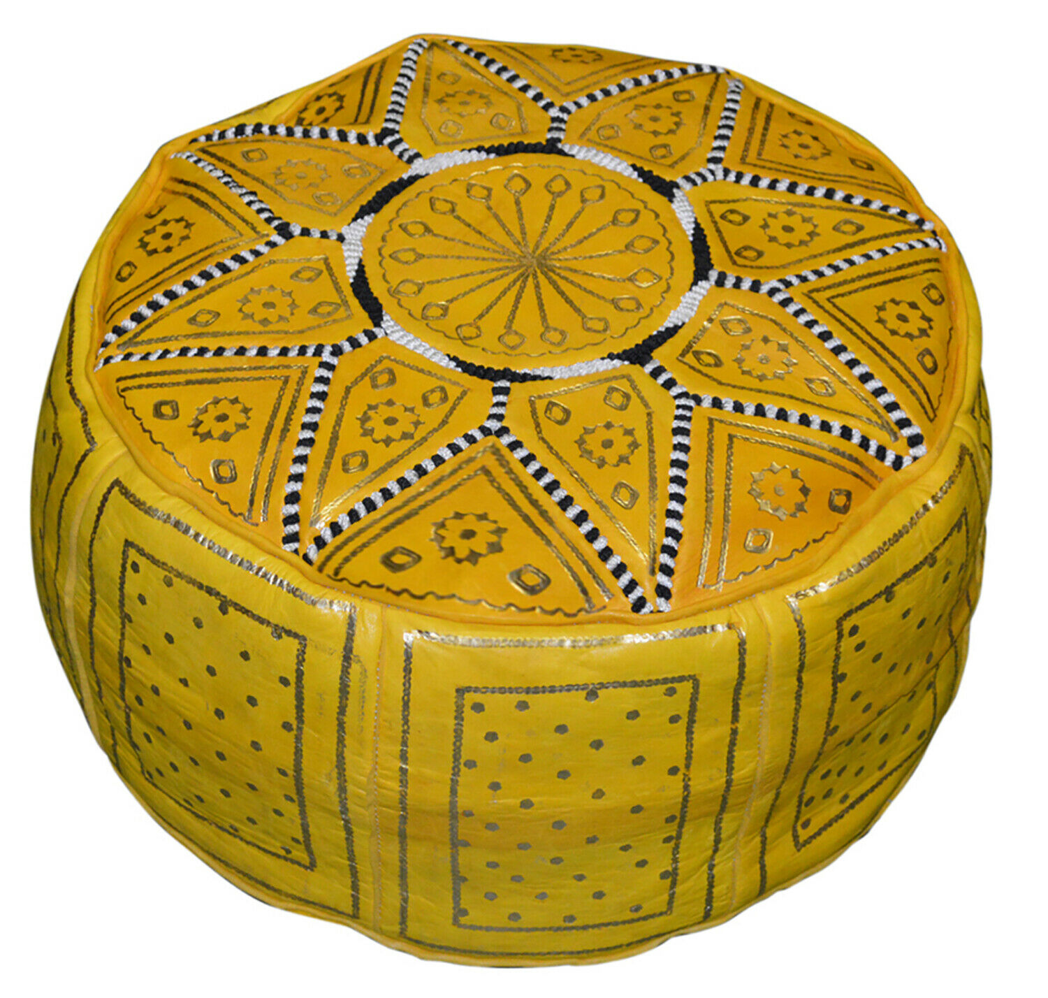 Pouf Moroccan Hassock Pooff Leather Pouff Ottoman Footstool Medium Yellow
