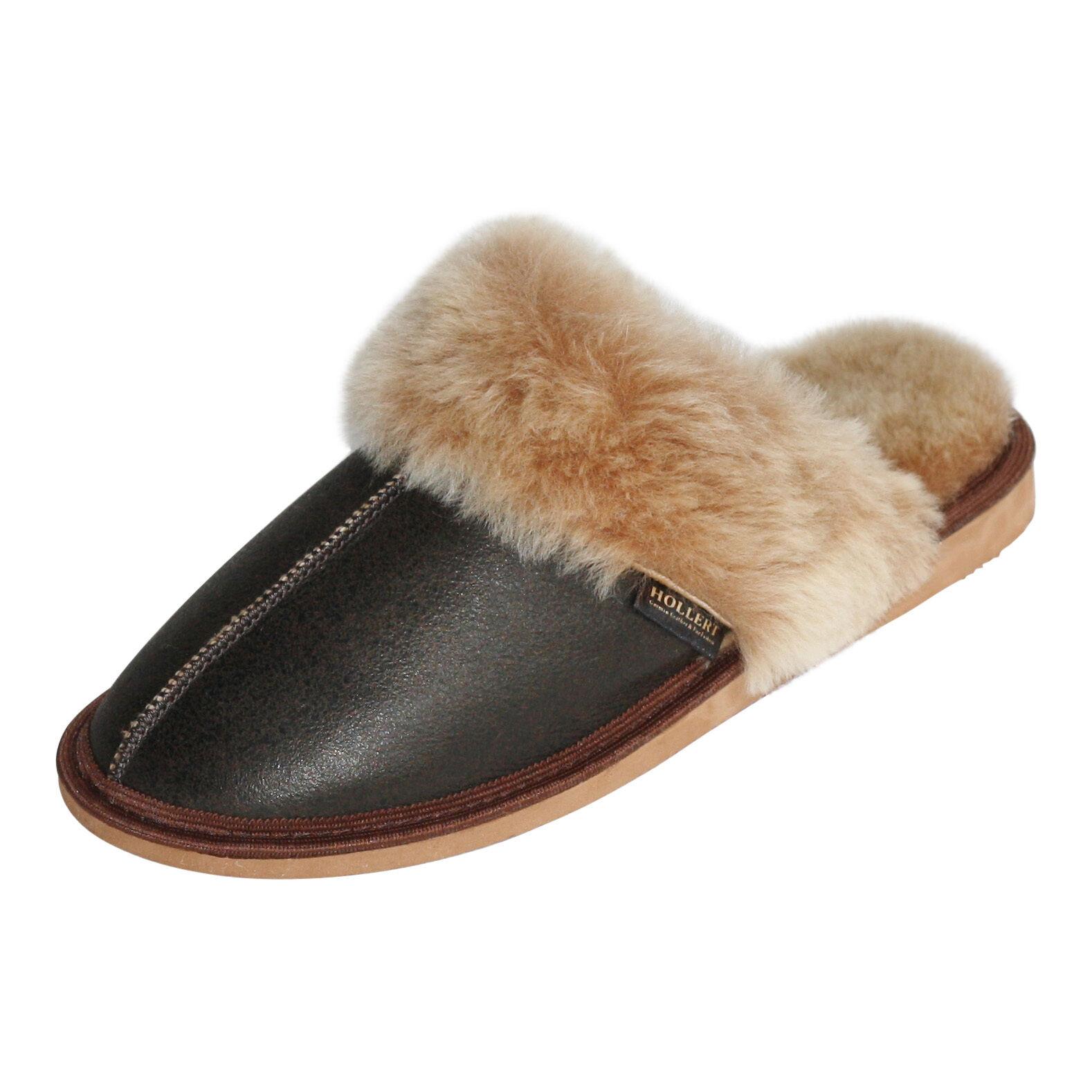 Lammfell Hausschuhe Pocahontas Braun Damen Lammfell Pantoffeln Puschen