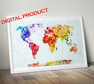 Watercolor world map poster print wall picture printable digital image is loading watercolor world map poster print wall picture printable gumiabroncs Images