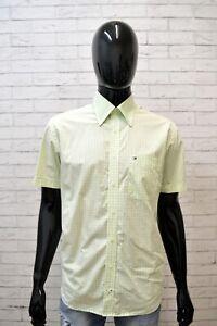 Camicia-Uomo-TOMMY-HILFIGER-Taglia-L-Maglia-Polo-Quadri-Cotone-Shirt-Verde-Hemd