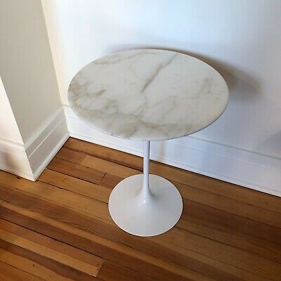 Saarinen 16 Inch Round Side Table.Authentic Saarinen Side Table By Knoll 16 Calacatta Marble Ebay