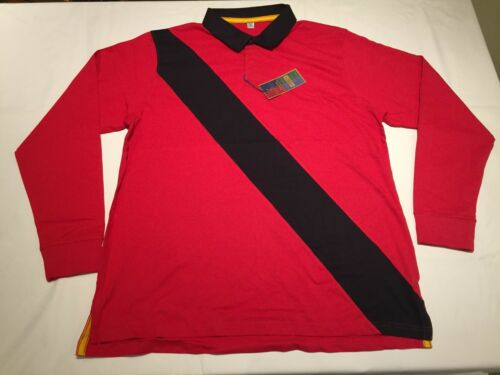 New Men/'s Front Row Diagonal Stripe Rugby Shirt R66 Red//Navy .XL